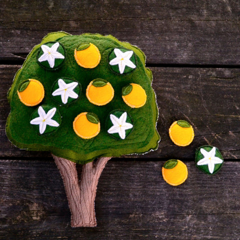 Orange Tree // Magnetic Montessori Work // Handmade Felt Classroom Tool