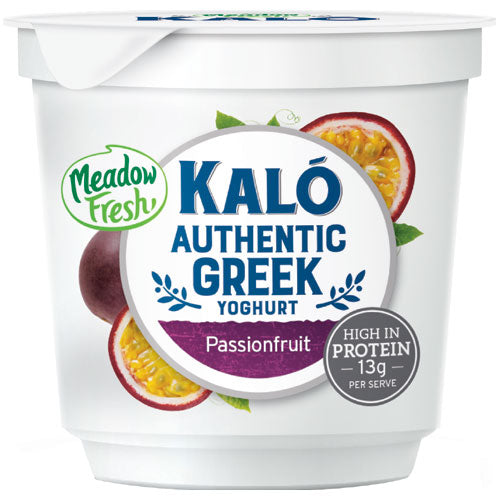 CARTON (8) MeadowFresh Kalo Greek Yoghurt Passionfruit 160g