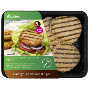Leader Flamegrilled Chicken Burger Patties 9pk