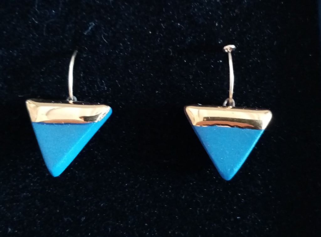Porcelain triangle and gold  blue earrings