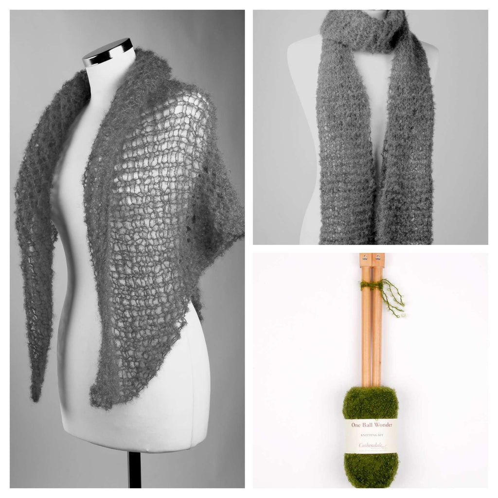 Scarf/Shawl Mohair Knitting Kit, available in a no. of colours