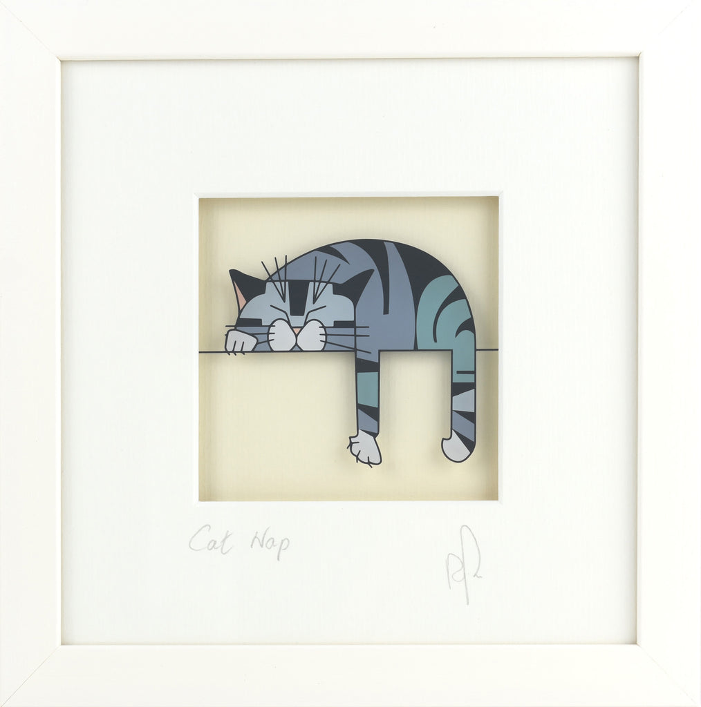 Square Glass Painting - Cat Nap