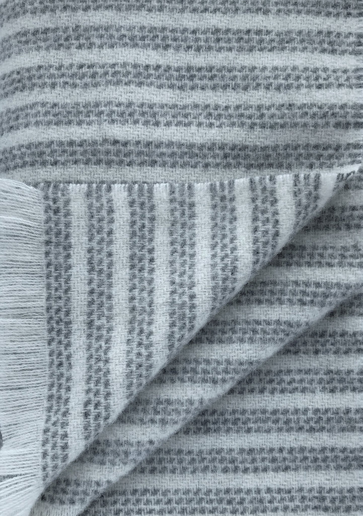 The Kilkenny Stripe Throw - Irish Wool Charcoal