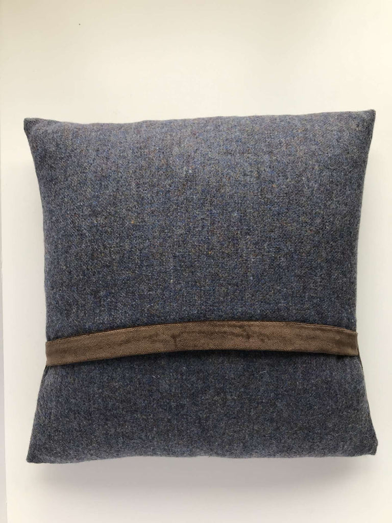 Tweed Square Cushion Bluestack Brown