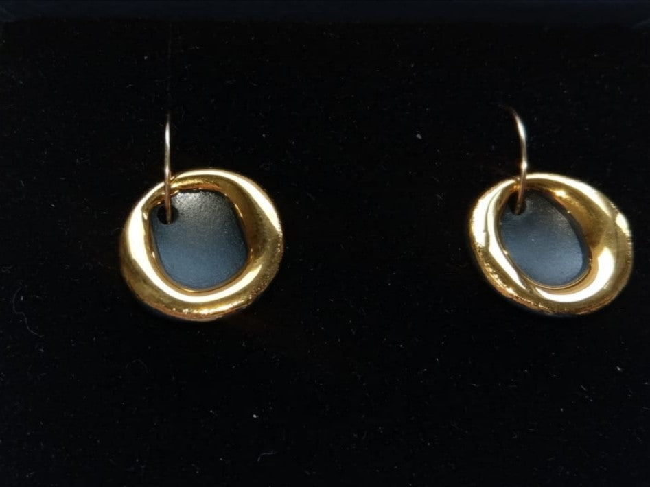 Gold Circle Halo Earrings Black