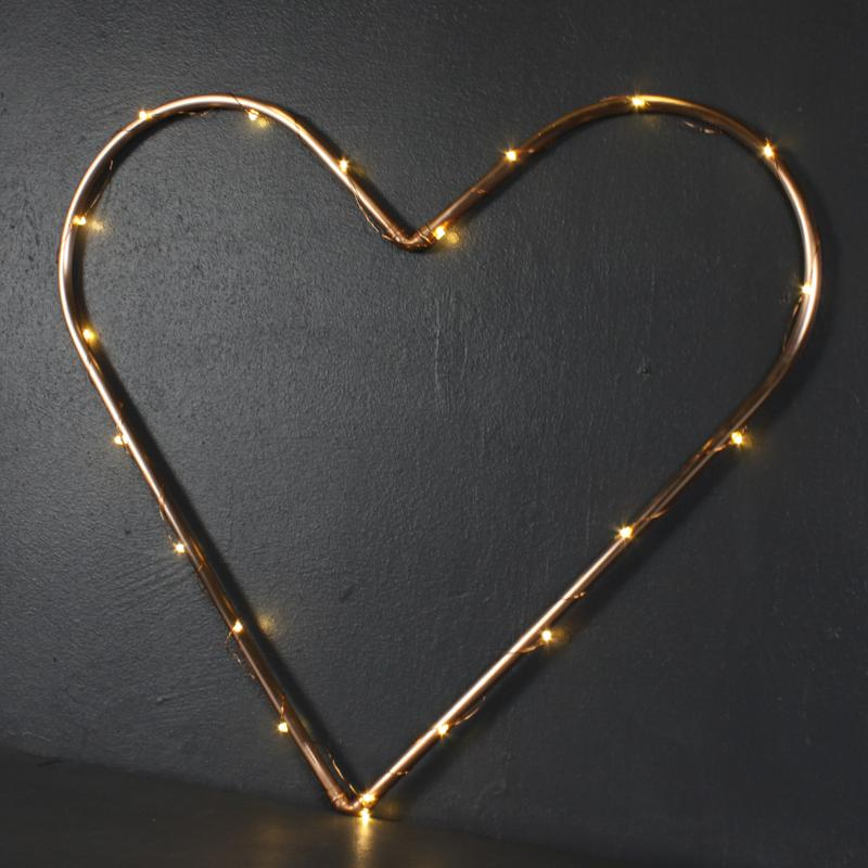 Copper Love Heart with LED lights