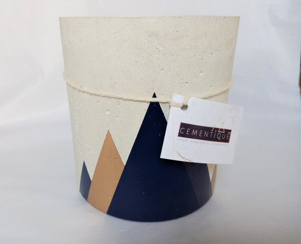 Medium Cylindrical Concrete Pot with Mountains