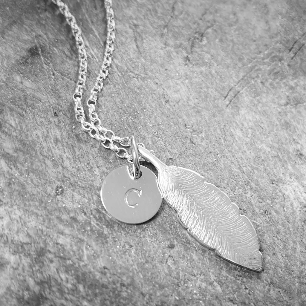 Feathers Appear Pendant with Initial Disc