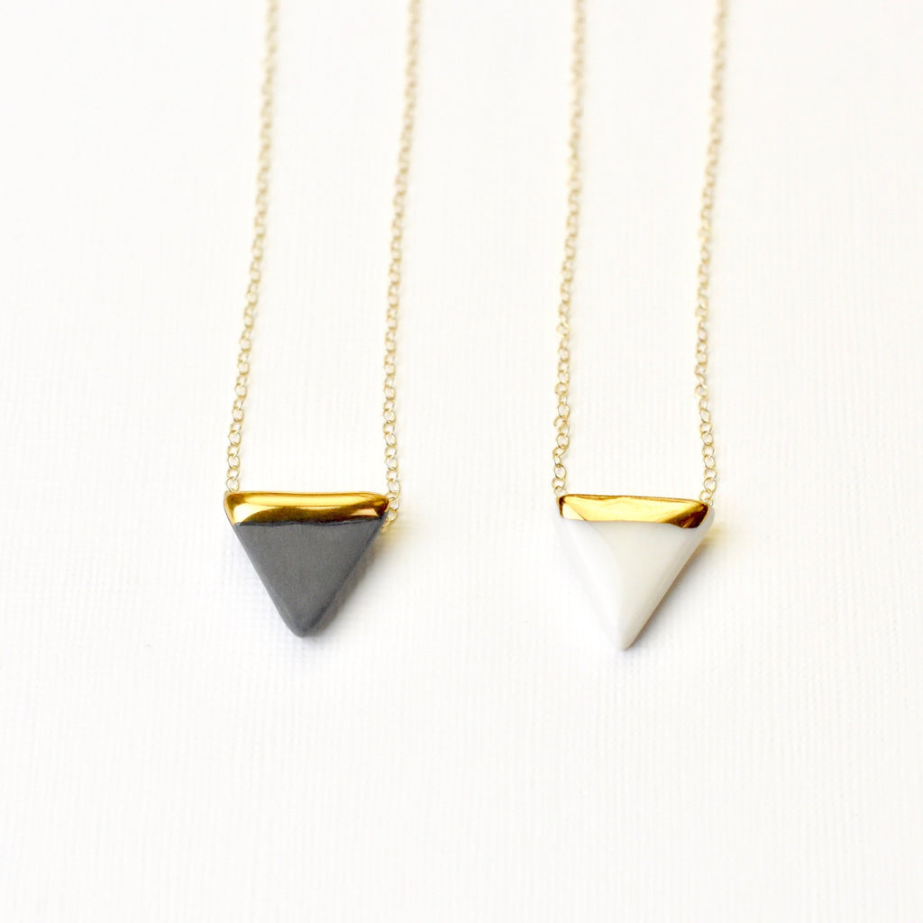 Porcelain triangle and gold necklace white