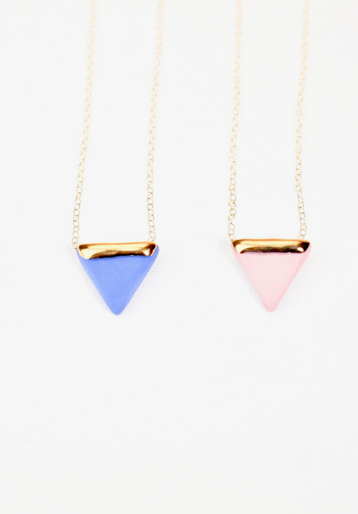 Porcelain triangle and gold necklace blue