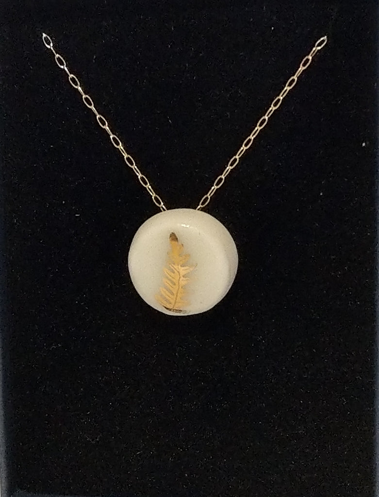 Gold Fern Necklace White