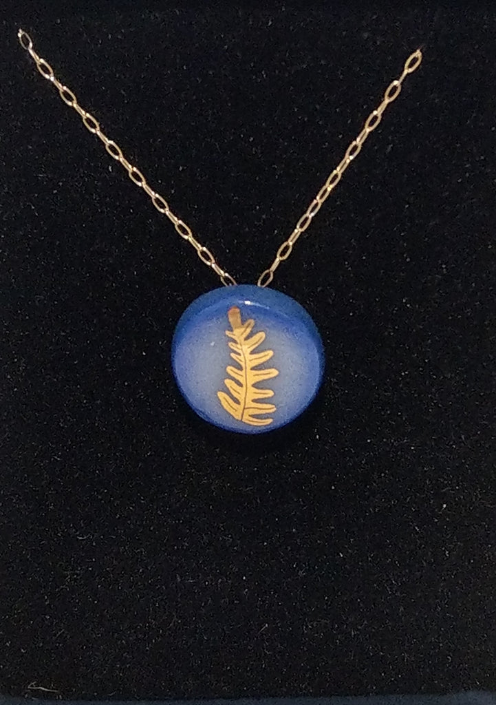Gold Fern Necklace Blue