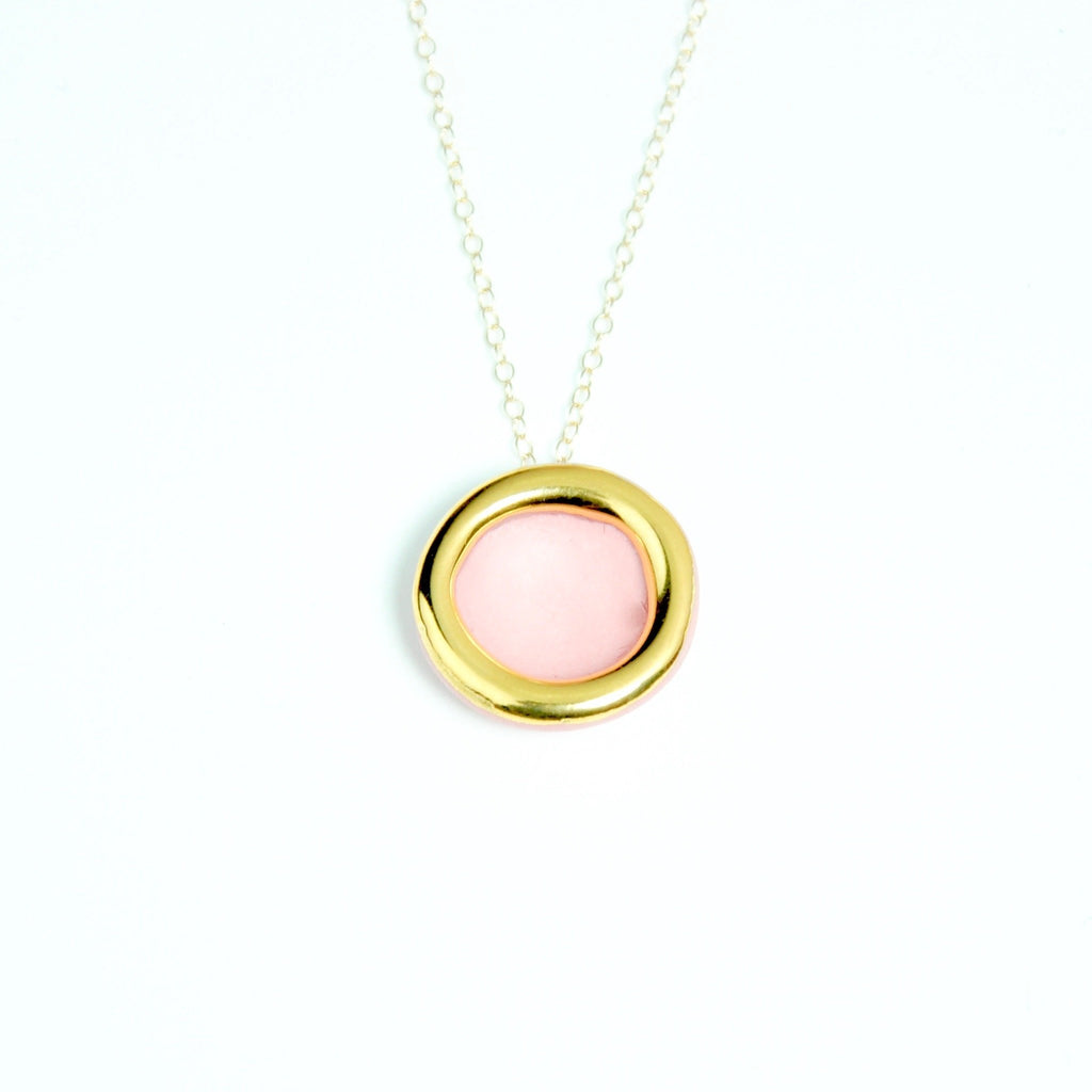 Gold circle necklace pink