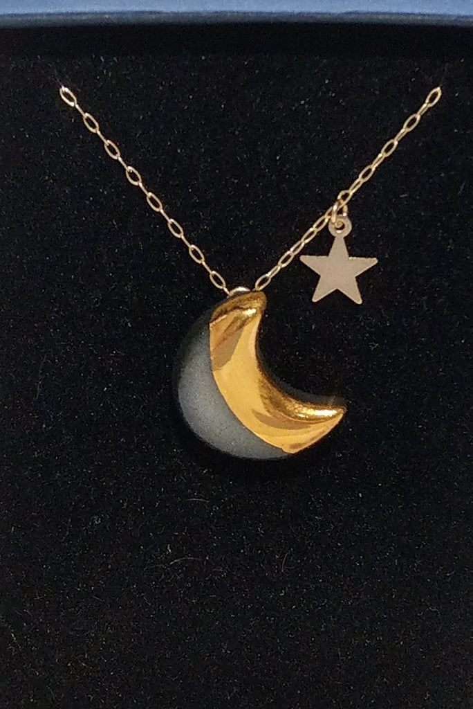Moon and star necklace black