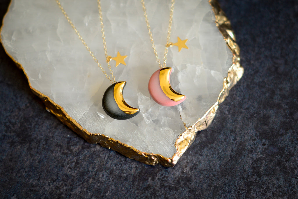 Moon and star necklace Pink