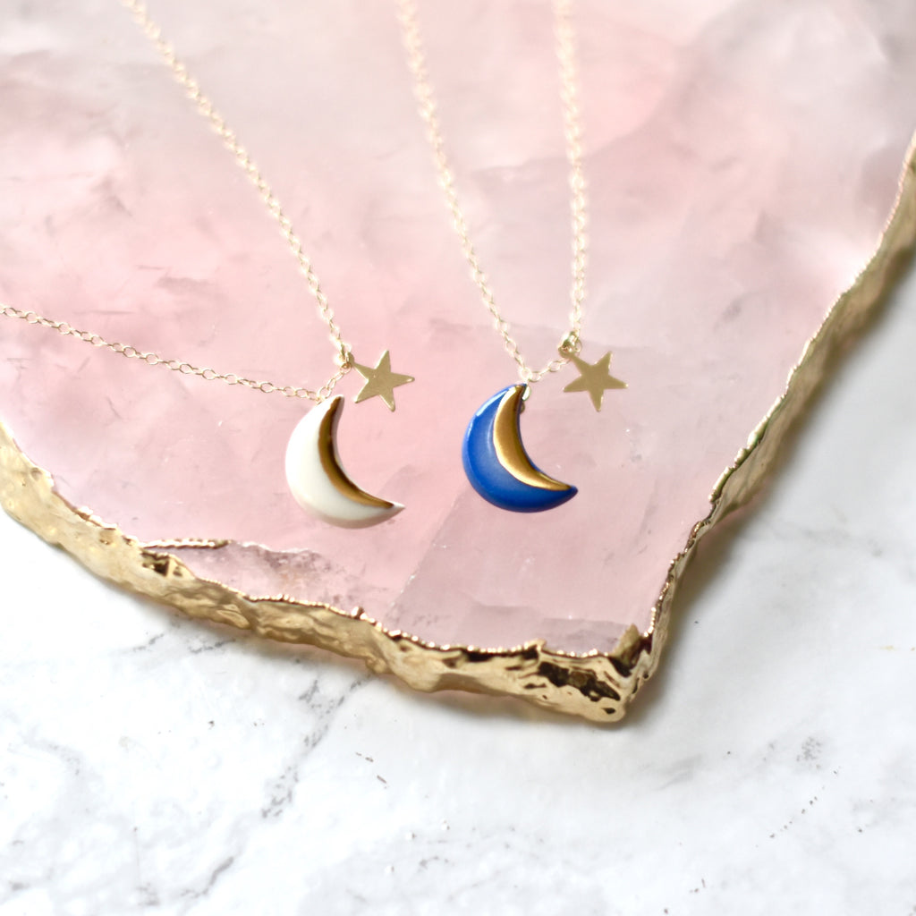 Moon and star necklace white