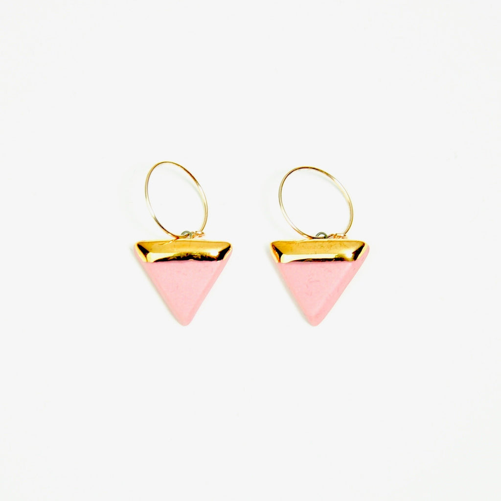 Porcelain triangle and gold  pink earrings