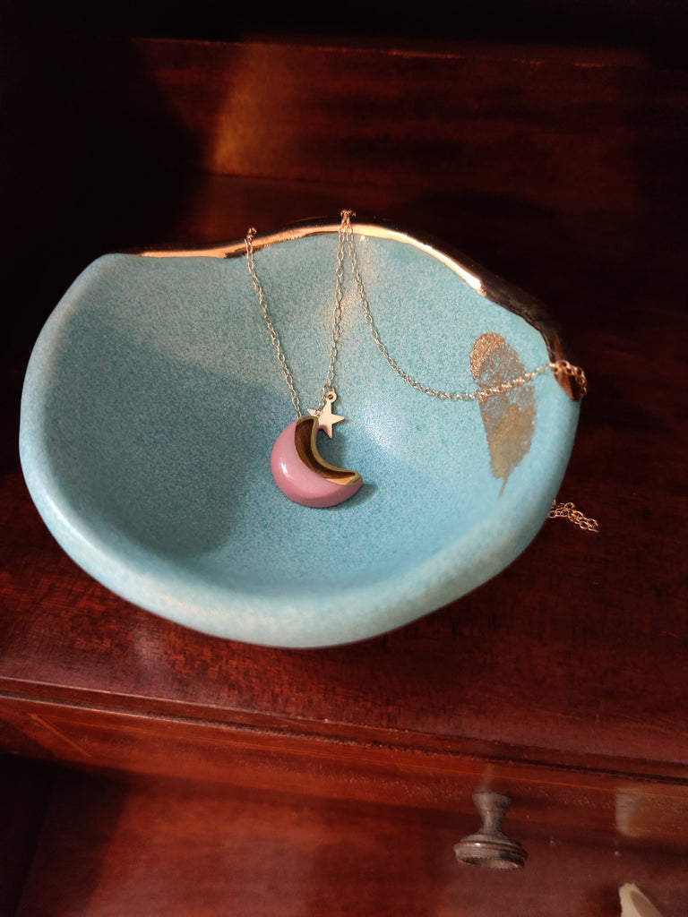 Small Gold Fern Jewellery Bowl Dish Mint
