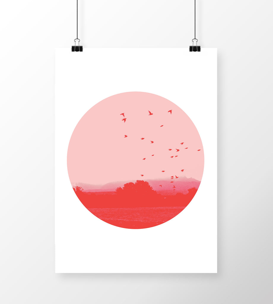 A4 Art Print Birds in Flight Red