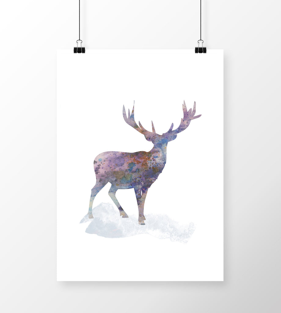 Ink and Watercolour Print Deer Ireland A4