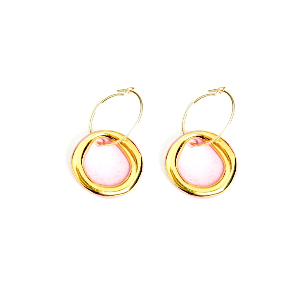 Gold Circle Halo Earrings Pink