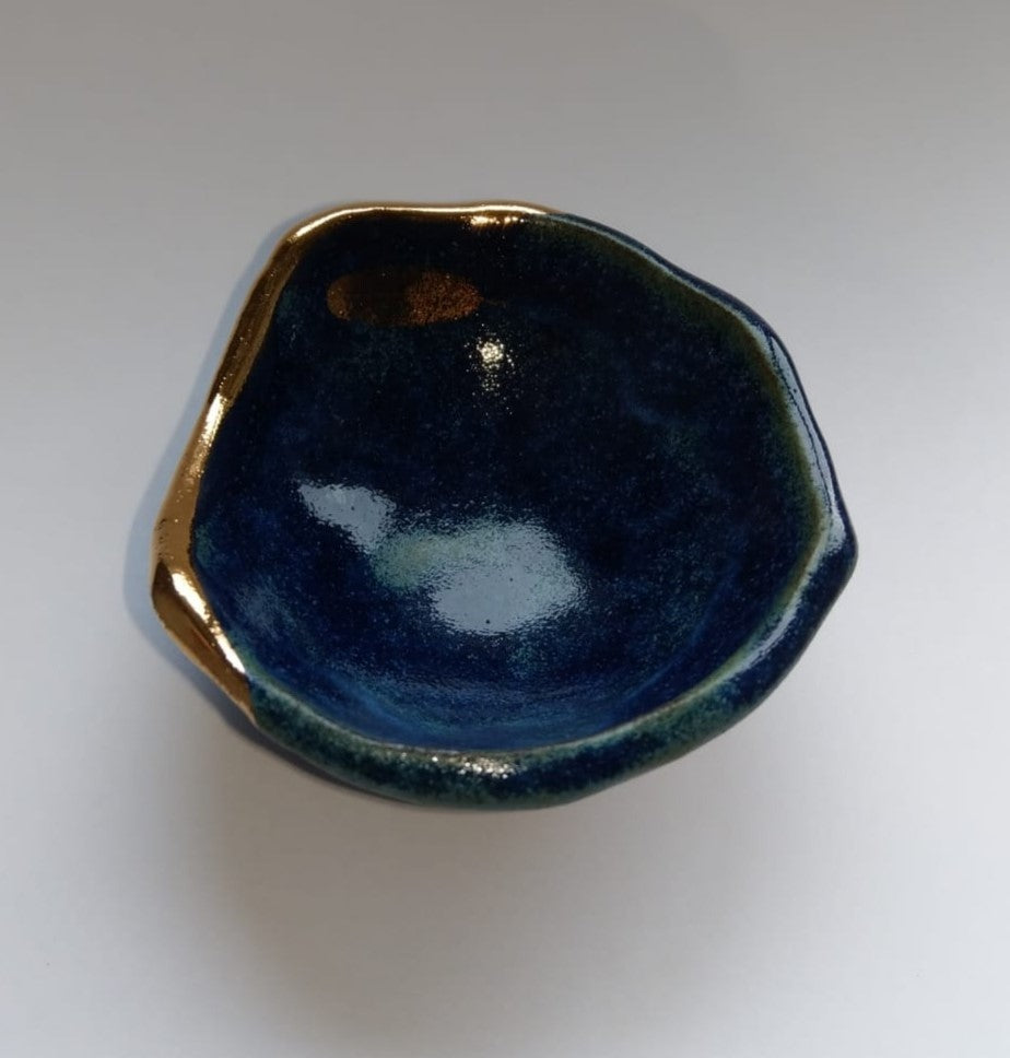 Small Gold Fern Jewellery Bowl Dish Blue