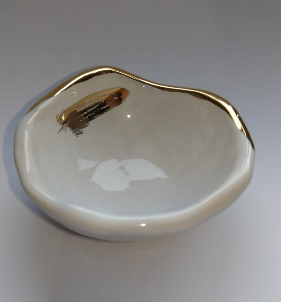Small Gold Fern Jewellery Bowl Dish White