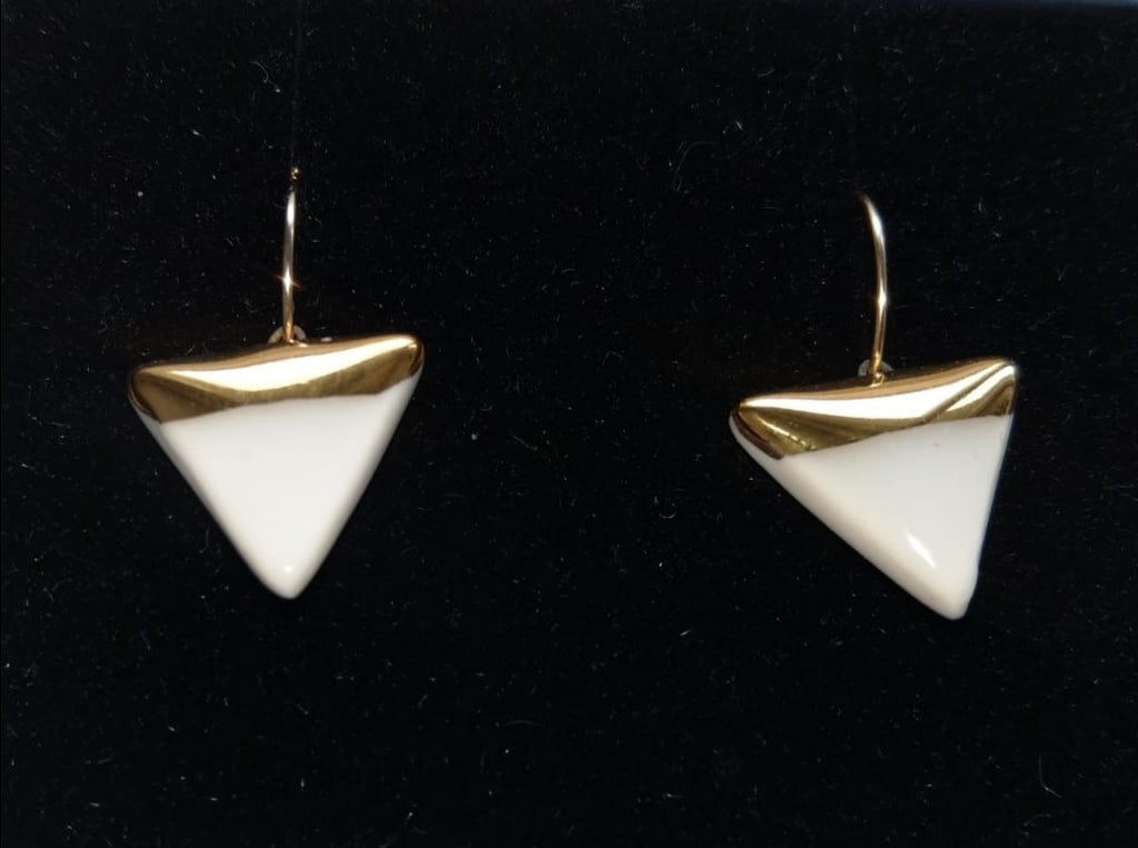 Porcelain triangle and gold white earrings