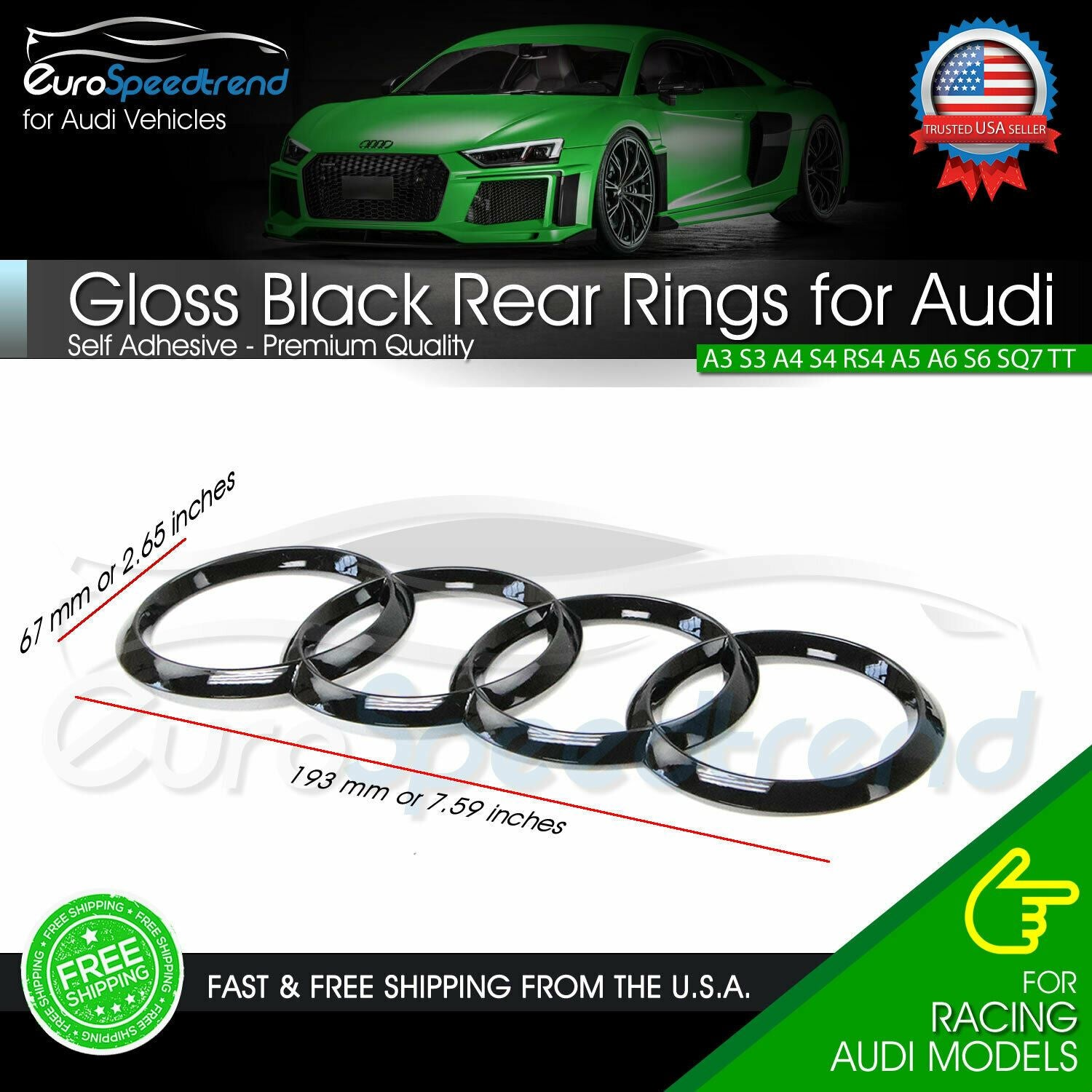 Black Gloss Front Grille Rear Trunk Rings Logo Emblem For Audi A3A4A5A6S5S6 RS S