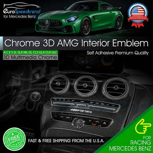 Silver NMQQ 83Mm Letter Emblem Badge Interior Center Console Logo Car Styling Accesorios 3D Stickers para Mercedes Benz Amg CE Glk Gla