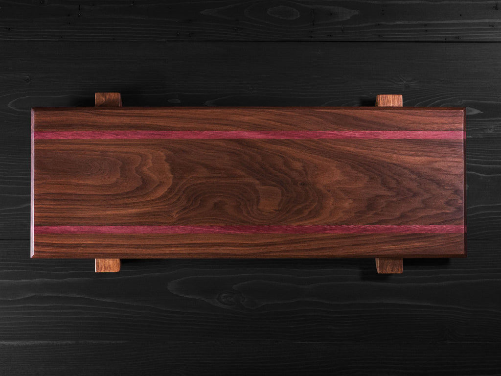 Walnut + Purple Heart Charcuterie Board w/risers