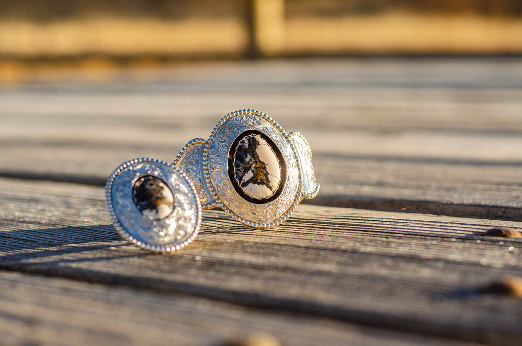 Sterling Silver Engraved White Buffalo Ring