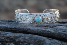 "Load image into Gallery viewer, Engraved 5/8"" Bracelet with Flower and Stone"