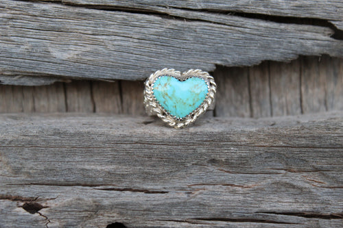 Size 6 1/2 Kingman Turquoise Heart Accent Ring
