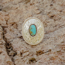 Load image into Gallery viewer, Size 7.5 Fully Engraved Sterling Silver and Royston Turquoise Ring