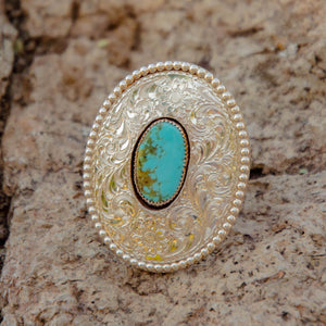 Size 7.5 Fully Engraved Sterling Silver and Royston Turquoise Ring