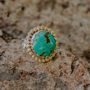 Size 9 Round Royston Turquoise Accent Ring