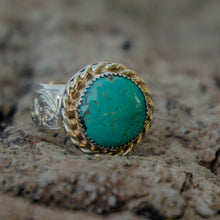 Load image into Gallery viewer, Size 9.5 Round Royston Turquoise Accent Ring