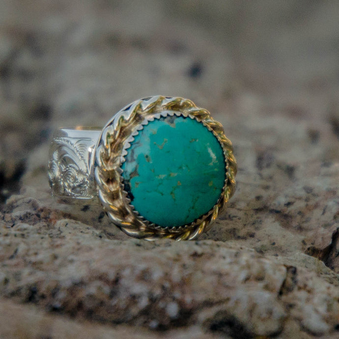 Size 9.5 Round Royston Turquoise Accent Ring