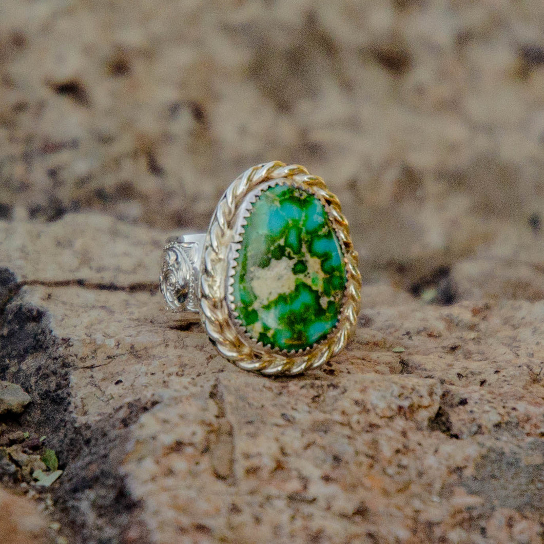 Size 9.5 Sonoran Gold Turquoise Accent Ring