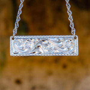 Silver Bar Necklace by JAD Custom Engraving