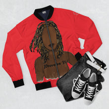 Load image into Gallery viewer, Proverbs 31 Locs Bomber Jacket (AOP) - Obsidian's LLC