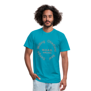 W.O.R.D. Unisex Jersey T-Shirt by Bella + Canvas - turquoise