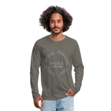 Load image into Gallery viewer, W.O.R.D. Men's Premium Long Sleeve T-Shirt - asphalt gray