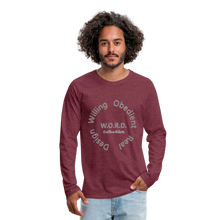 Load image into Gallery viewer, W.O.R.D. Men's Premium Long Sleeve T-Shirt - heather burgundy
