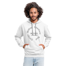 Load image into Gallery viewer, W.O.R.D. Unisex Contrast Hoodie - white/gray