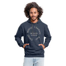 Load image into Gallery viewer, W.O.R.D. Unisex Contrast Hoodie - indigo heather/asphalt