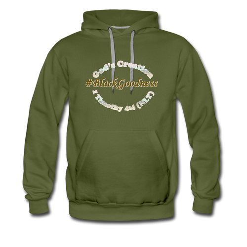 Black Goodness Men's Premium Hoodie - olive green