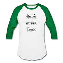 Load image into Gallery viewer, Straight Outta Excuses Baseball T-Shirt - white/kelly green