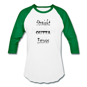 Straight Outta Excuses Baseball T-Shirt - white/kelly green